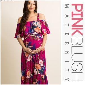 Pinkblush Magenta Floral Maternity Maxi D